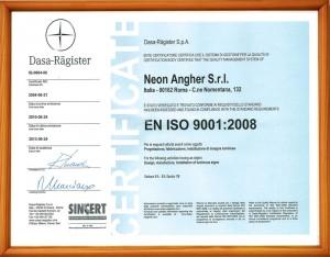 Certificato originale ISO 9001:2008