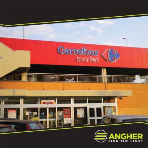 Insegna grande impianto laterale Carrefour