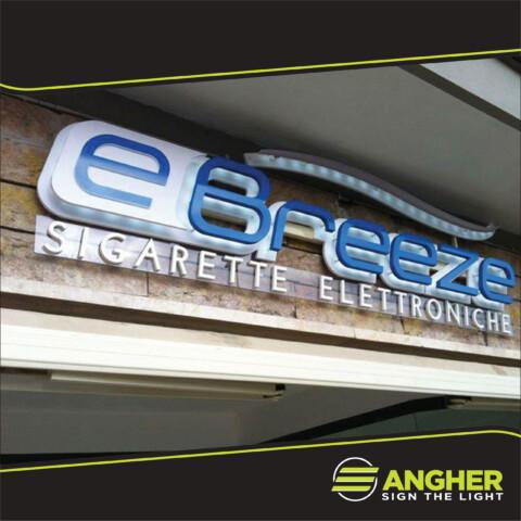 Insegna a led negozio EBreeze