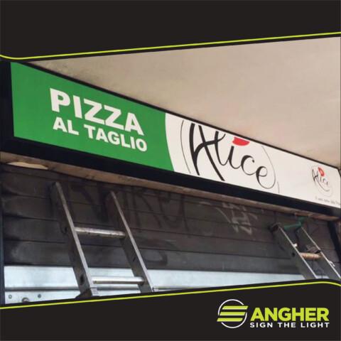 Insegna a Cassonetto Pizzeria Alice